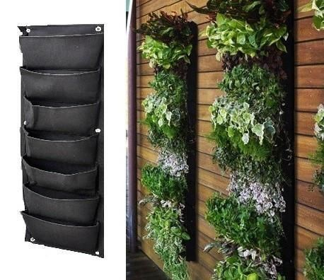 7 Pockets Flower Pots Planter on Wall Hanging Vertical Felt Garden Plant Grow Container Bags