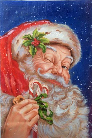 China Christmas Sale Handmade Santa Claus Canvas Wall Art for Gift ...