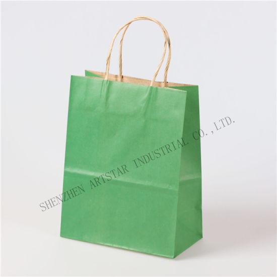 Wholesale Custom Packaging Craft Brown Kraft Paper Shopping Bag with Handle
