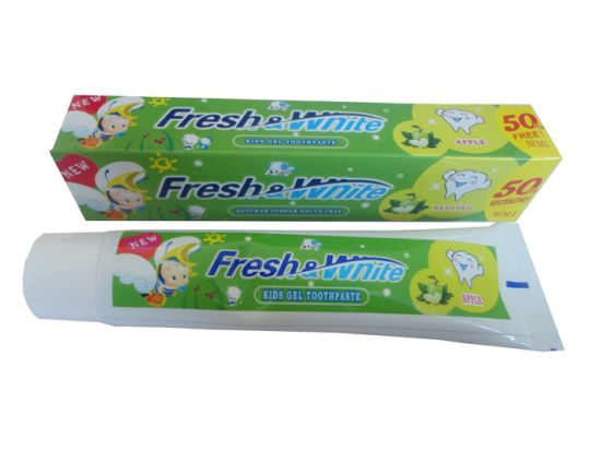 High Quality Safe Kids / Child / Baby Fluoride Free Toothpaste, Flavor: Candy, Apple, Strawberry or Customized pictures & photos