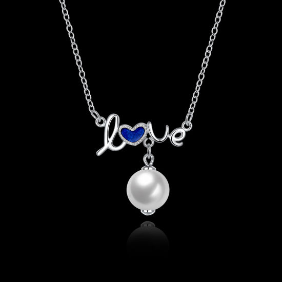 925 Sterling Silver Jewelry Pearl Love Pendant Necklace Platinum Plated pictures & photos