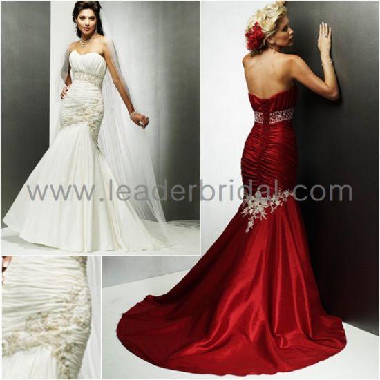 China Strapless Ivory Red Mermaid Bridal Wedding Dress Br73 - China ...