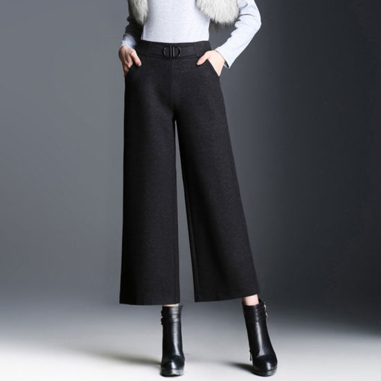 Latest Ladies Palazzo High Waisted Wide Leg Woolen Trousers