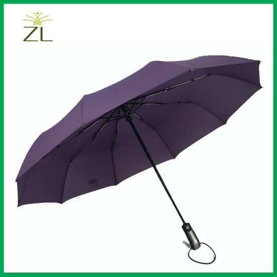 Factory Price Custom Logo Top Quality Auto Open Close 3 Fold Umbrella pictures & photos