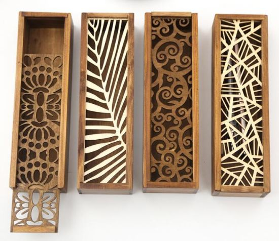 Rectangular Wooden Pen Box with Inlaiding Decorations pictures & photos