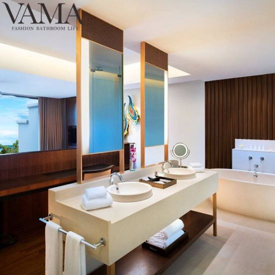 Vama 72 Inch Double Sink Bathroom Vanity Golden Hotel Furniture