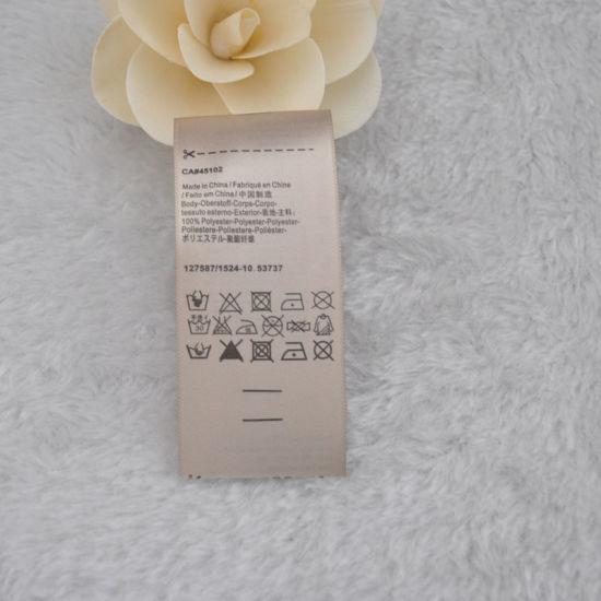 Golden Background Black Font Printed Label for Clothing