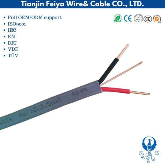 Flat Cable PVC Cable, Building Wire Twin and Earth Cable Connecting Wire, Flexible Copper Cable Electrical Wire and Cable LSZH Cable Electric Wire TPS Cable