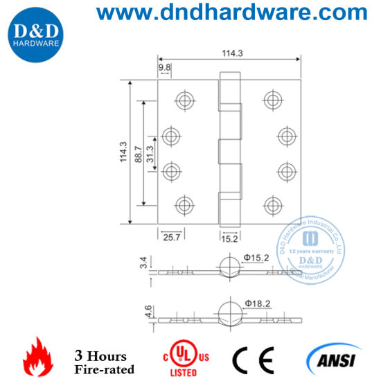 Stainless Steel Door Hinge with UL Listed for Fire Rated Door 4.5X4.5X3.4 2bb (DDSS002-FR) pictures & photos