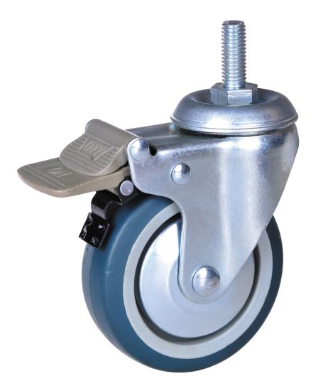 4 Inch TPE Wheel Thread Stem Casters with Double Brake