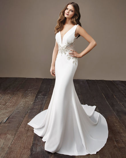 Amelie Rocky 2018 Beaded Satin New Wedding Gown Mermaid