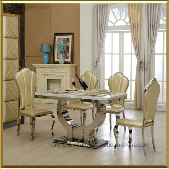 Modern Elegant Dining Room Table Stainless Steel And Faux Leather  Restaurant King Throne Dining Chair For Wedding Banquet