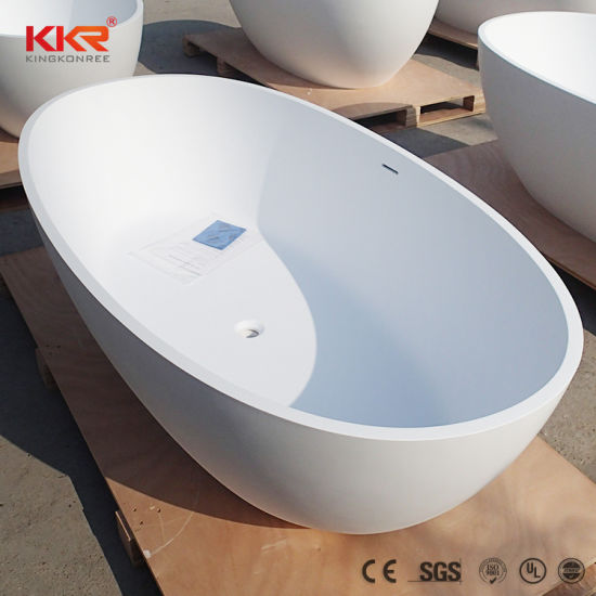 Kkr Matt White Marble Stone Free Standing Oval Bathtub China