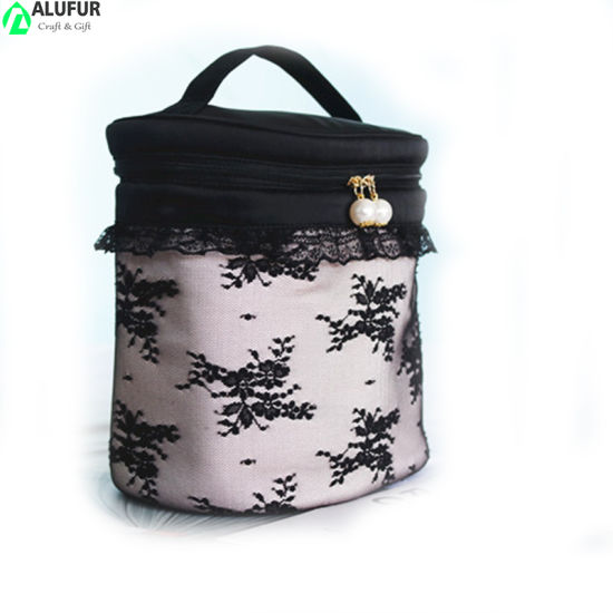Premium Barrel Laced Cosmetic Beauty Organizer with Pearl Zipper for Women