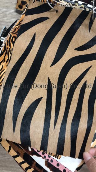 Horse Fur Animal Pattern Printing Hair Calf Genuine Leather for Furniture, Bags, Shoes