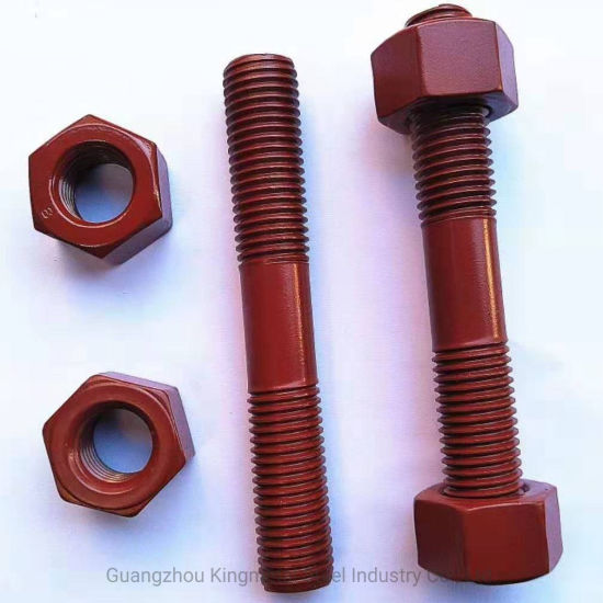 PTFE Teflon Coated Fasteners Thread Rod with Hex Bolt and Nut