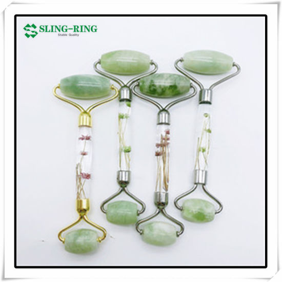 Private Label Manufacturer Gua Sha Scraping Tool Jade Roller Face Massage Red and Green and Pink Jasper Facial Jade Roller Guasha Scraping