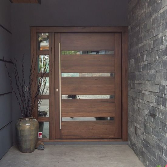 Modern Front Entrance Solid Wood Doors Elegant Simple Design Exterior Interior Wooden Steel Pivot Doors