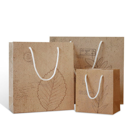 2019 Luxury Shopping Handle Packing Shopping Brown Kraft Paper Bag