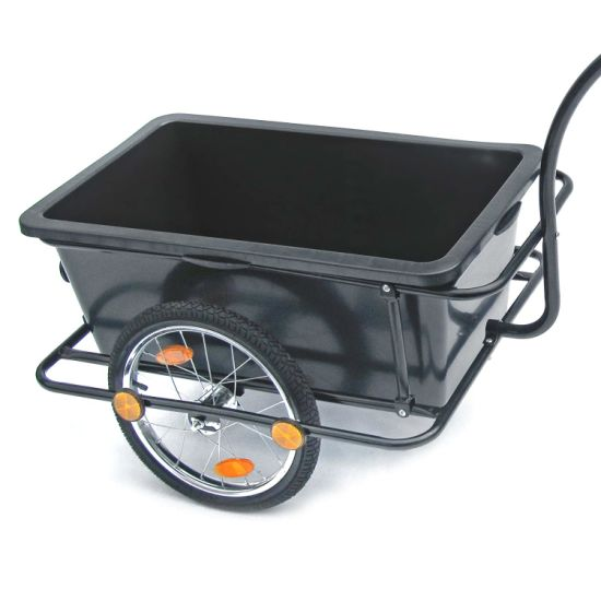 Plastic Tray Bicycle Cargo Transport Bike Trailer Trolley with Handle and Coupling