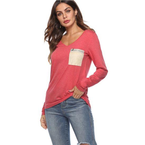 V-Neck Long Sleeve Zipper Pocket T-Shirt for Women