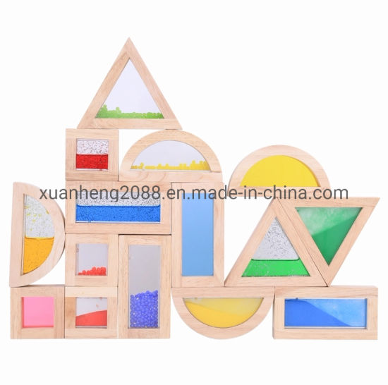Baby Educational Toy Montessori Learning Material Wooden Sensory Blocks with Beads Rainbow Color Quality Acrylic Blocks