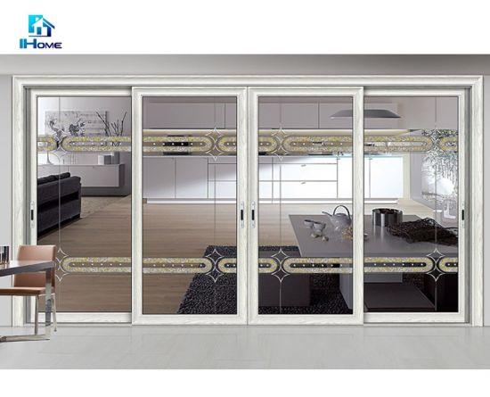 Latest Designs 4 Panel White Aluminium Outdoor Glass Sliding Main Door Grill Design for Kerala Shop Front