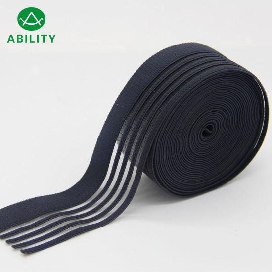 Silicone Jacquard Black Nylon Waistband Elastic Webbing for Garments