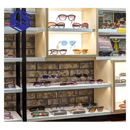 Wall Mounted MDF Glasses Store Eyewear Display Cabinet