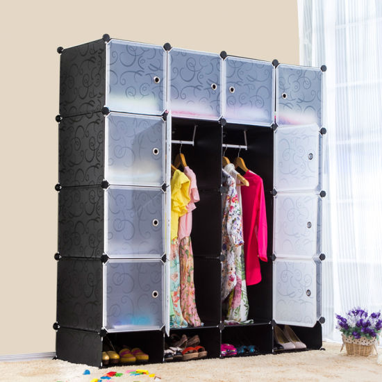 Furniture Closet Plastic Cheap Bedroom Storage Wardrobes Designs pictures & photos