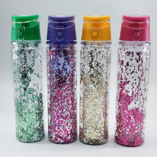 Competitive Price 550ml Glitter Water Bottle Double Wall with Handle for Gift