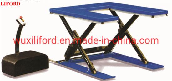 High Quality U-Shaped Low-Profile Scissor Lift Table 1 Ton