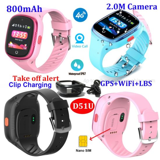 LTE Water Resistance Video Call Removal Alarm Alert Personal GPS Watch Tracker with SOS Panic Button D51U