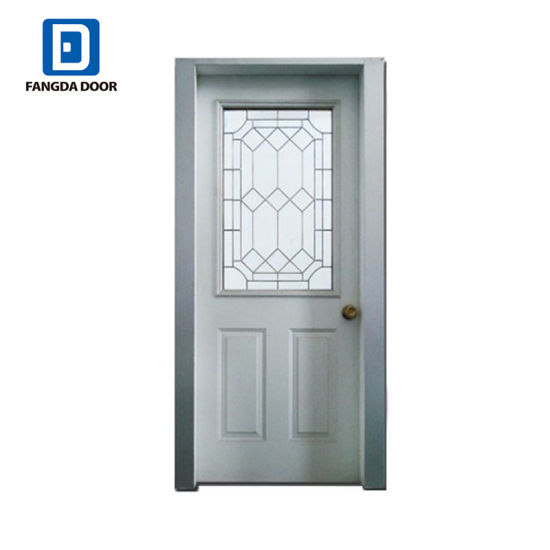 buy popular 46da7 3837d Half Frosted Decorative Caming Inserted Tempered Glass Steel Prehung Front  Door