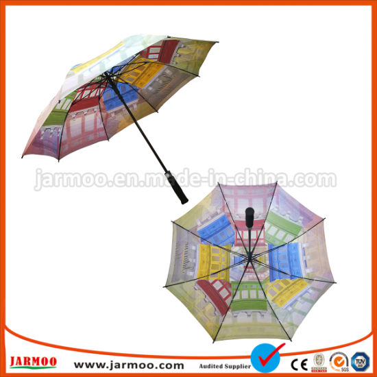 High Quality Strong Aluminum Shaft Straight Wind-Proof Custom Brand Name Golf Umbrella pictures & photos