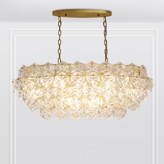 Luxury Modern Hotel Crystal Pendant Chandelier, in Antique Brass Frame, Fit for Kitchen, Restaurant, Dining Room and Living Room