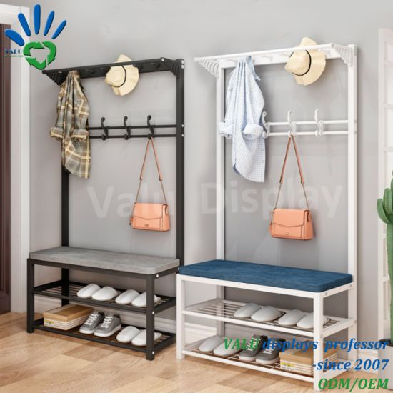 Shoe Rack Storage Household Simple Shoe Cabinet Clothes Hanger Integrated Entrance Hall Folding Shoe Changing Stool pictures & photos