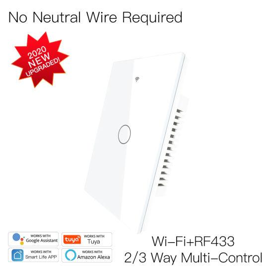 China Rf433 Wifi Wall Touch Switch No Neutral Remote Wireless Remote Switch Wire Smart Life Tuya 1 2 3gang 3 Way China Sonoff Sonoff Switch