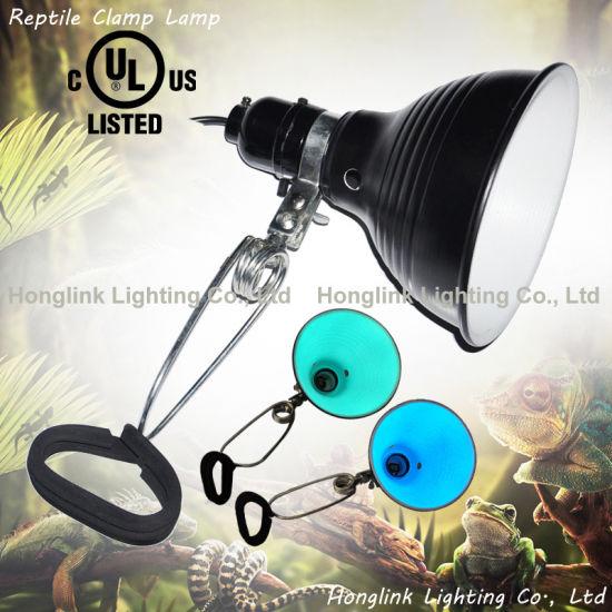 UL Terrariums Reptiles Aquarium Reptile Grow Light Clamp Lamp with Aluminum Lampshade
