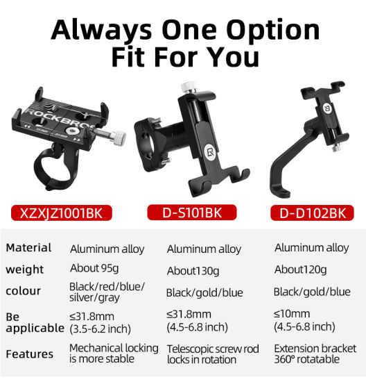 Bicycle holder aluminum handlebar bicycle smartphone 3,5 to 6,2 inches