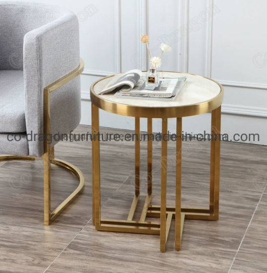 China Wholesale Modern Furniture Stainless End Side Table With Marble Top China End Table Furniture