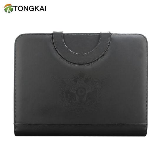 Tongkai Business Customized Zippered Portfolio File Folder with Calculator