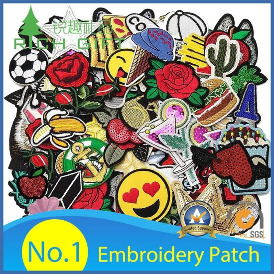 Cheap Wholesale Custom Fashion Woven Chenille 3D Logo Puff Sew Iron Clothing Embroidered Badge Fabric Garment Army Felt Sequin Towel Embroidery Patch No Minimum