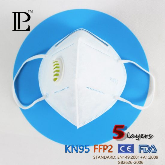 5 Layers Respirator Protective 95% Filtration KN95 Mask with Valve