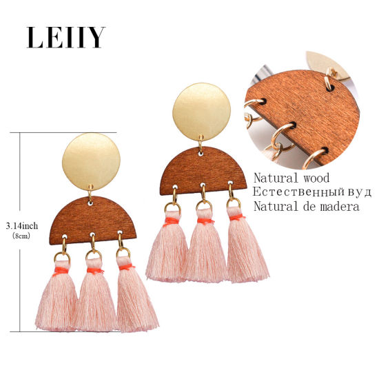 Gold-Tone Natural Wood & Rope Pink Tassel Custom Fashion Drop Earrings pictures & photos