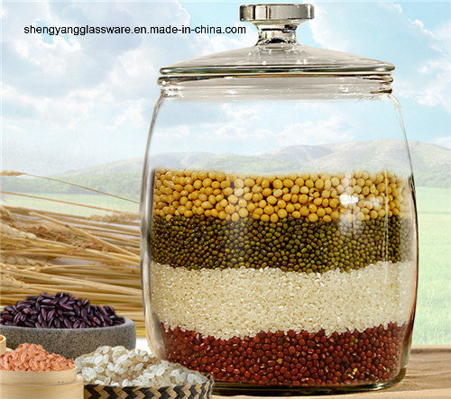 Modern Stylish Hot Sell Big Size High Capacity Glass Food Storage Jar with Glass Lid pictures & photos