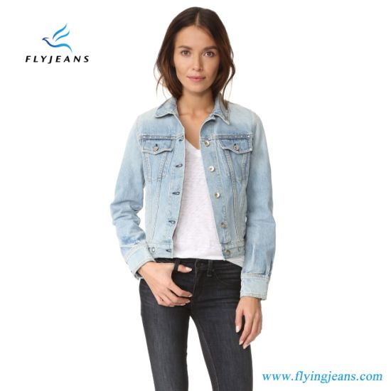 95178d8a4bc0 China Lovely Short Women Denim Jeans Jacket with Faded Wash - China ...