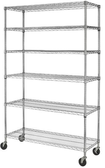 6 Layers High Quality Mobile Wire Storage Steel Chrome Shelf