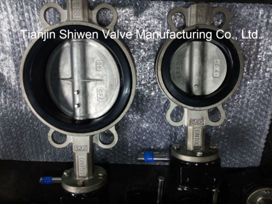 CF8 Stainless Steel Wafer Butterfly Valve with Gear Operator pictures & photos