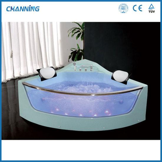 Foshan Corner Message Bathtub Hot Tub Bathroom Jacuzzi Whirlpool Bathtub with LED Light (QT-309)
